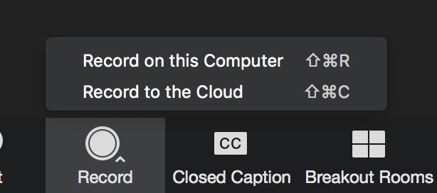 use the carrot to select record to the cloud or record to the local computer